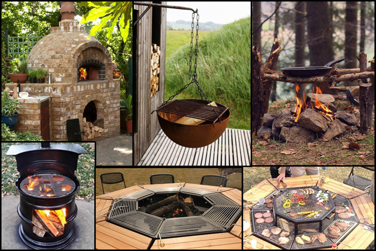 Outdoor kitchen cooking pizza oven fire ideas